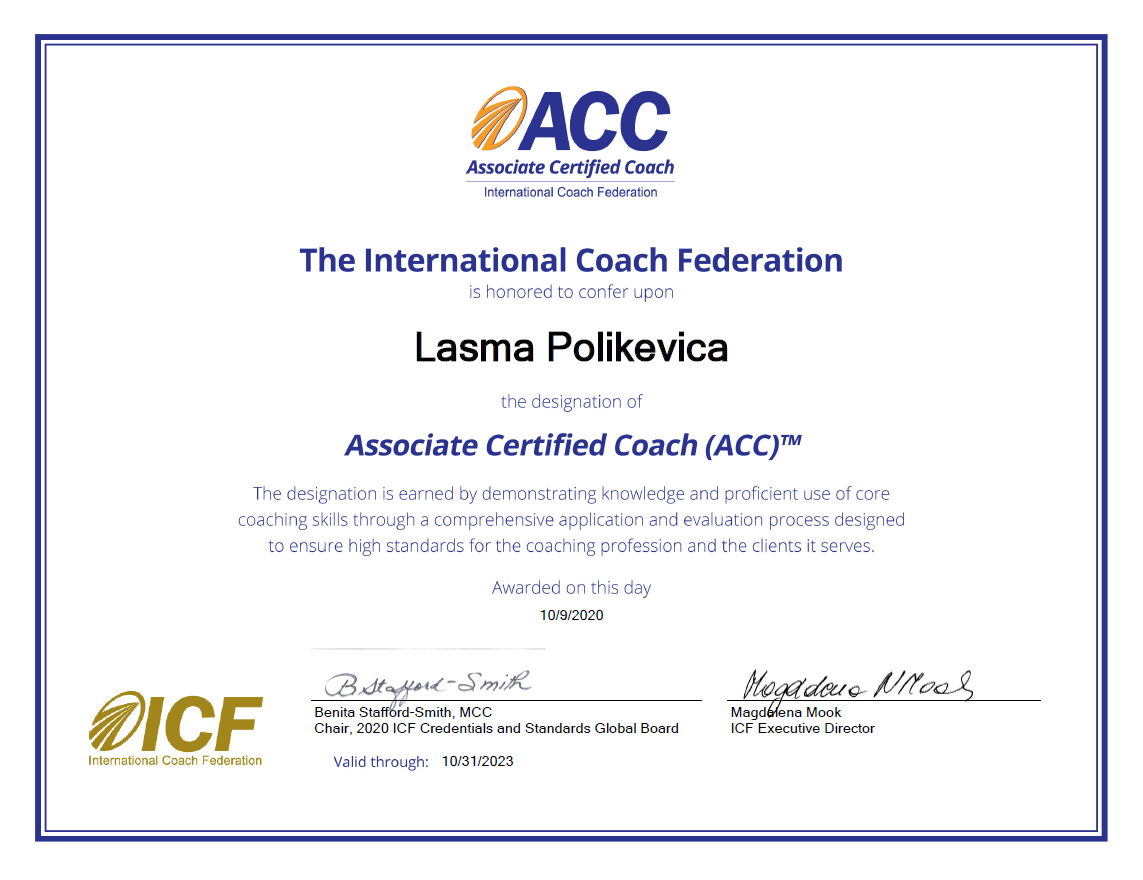 Lasma Polikevica, ACC (Associate Certified Coach)